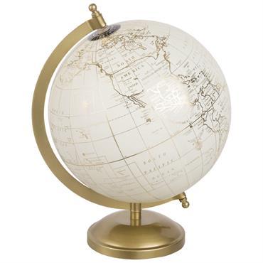 Globe terrestre carte du monde crème et doré