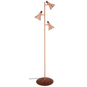 Lampadaire 3 lampes en métal cuivré H