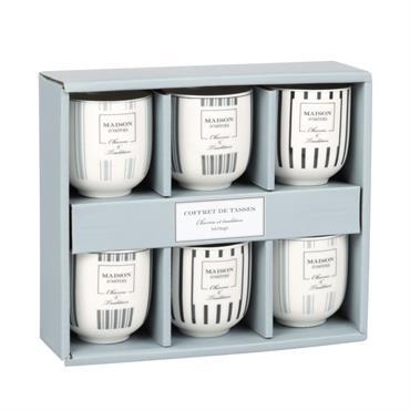 Coffret 6 tasses en porcelaine blanche et noire imprimée