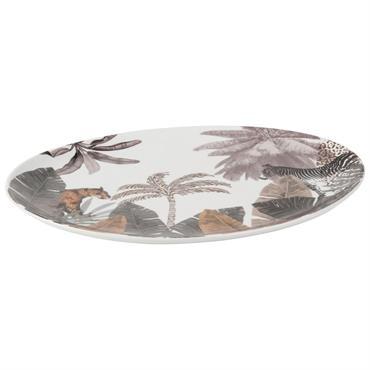 Plat ovale en porcelaine imprimé jungle