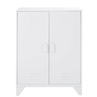 Cabinet de rangement indus 2 étagères en métal blanc Sunset