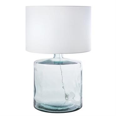 Lampe en verre recyclé et abat-jour blanc