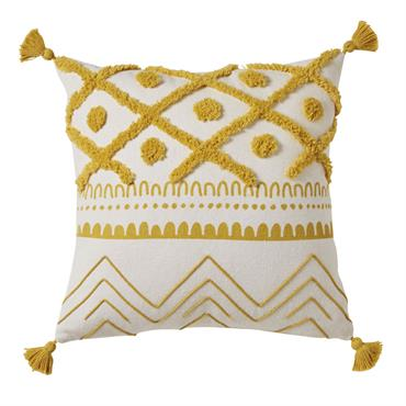 Le cur de votre enfant balance entre déco branchée et ambiance dépaysante ? Combinez ces 2 styles avec le coussin en coton écru motifs graphiques jaune moutarde 40x40 OURIKA . ...