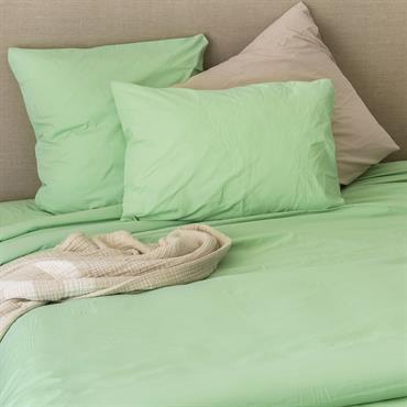 Taie d'oreiller en coton lavé coton aqua 65x65