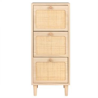 Petit meuble de rangement en paulownia 3 tiroirs rose et cannage