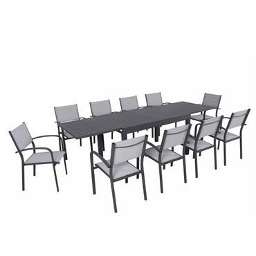 Ensemble de jardin 10 places extensible en aluminium anthracite gris