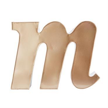 Statuette lettre M en métal cuivré H31