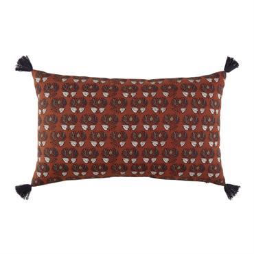 Coussin en coton terracotta imprimé 30x50