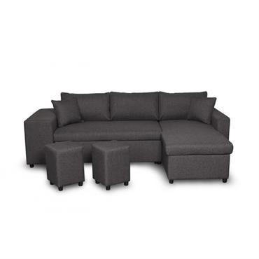 Canapé d'angle convertible gris foncé avec rangement poufs à droite