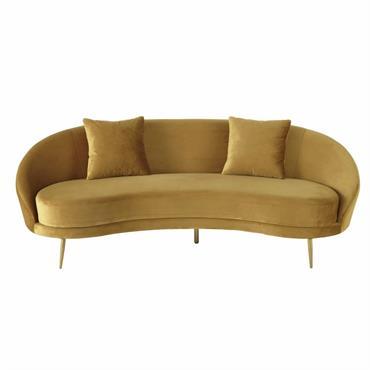 Canapé vintage 3/4 places en velours jaune Glover