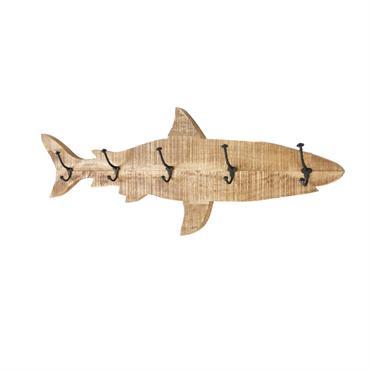 Patère requin 5 crochets en métal et manguier