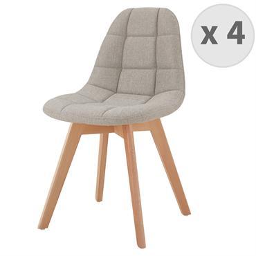 STELLA-Chaise scandinave tissu lin pied hêtre