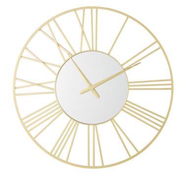 Horloge miroir en métal doré D92