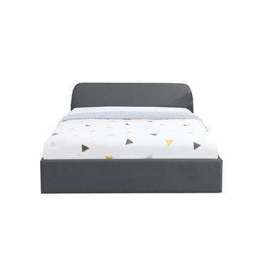 Lit coffre LENA sommier à lattes et tête de lit 140x190 gris foncé