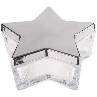 Boîte étoile en verre teinté argenté