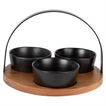 Plateau apéritif en bambou et 3 bols en faïence noire mate