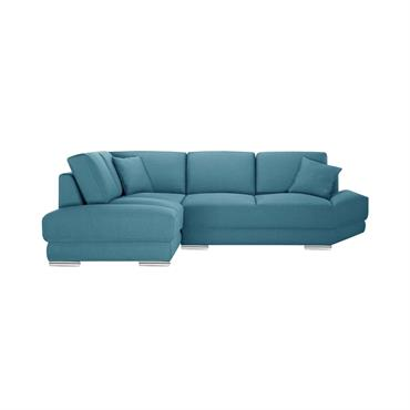 Canapé d'angle gauche 5 places toucher lin turquoise