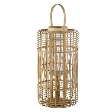 Lanterne en bambou et verre H65