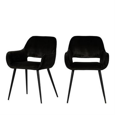 2 fauteuils de table en velours noir