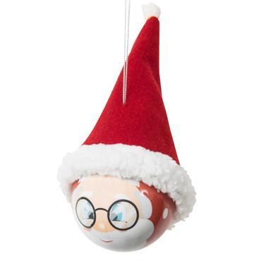Boule de Noël visage père Noël et bonnet rouge