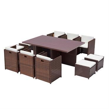 Table et chaise 10 places encastrables alu résine marron/blanc