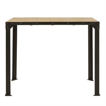 Table à manger haute en métal et manguier massif 4/6 personnes L130 Factory