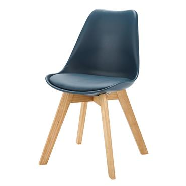 Chaise style scandinave bleu marine et chêne massif Ice