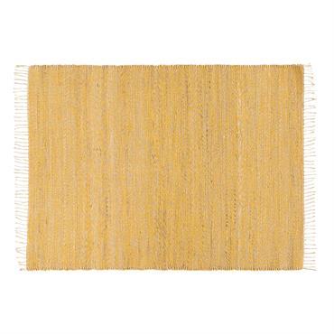 Tapis tressé en jute et coton jaune 160x230