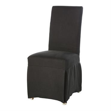 Housse longue de chaise en lin lavé gris charbon