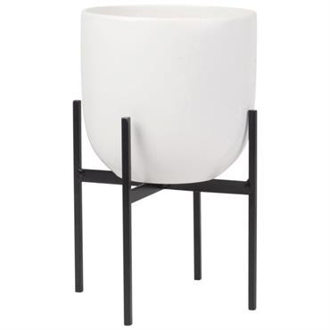 Cache-pot sur pieds en céramique blanche et métal noir H21