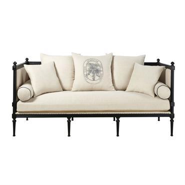 Canapé 3 places en lin beige ficelle et pin massif noir Adele