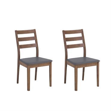Lot de 2 chaises de salle à manger en bois d'hévéa gris