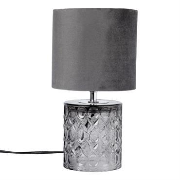 Lampe en verre ciselé et velours gris