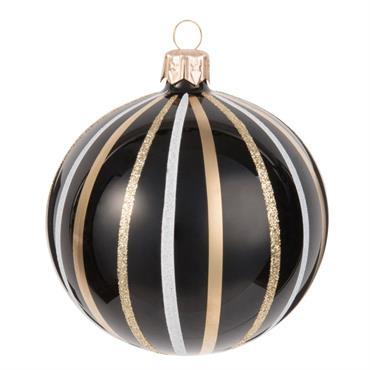 Boule de Noël en verre teinté noir motifs à rayures blanches et dorées