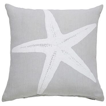 Coussin en lin gris imprimé étoile de mer 45x45cm STARFISH
