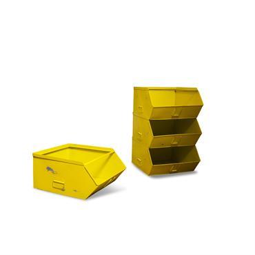 Rangement 4 bacs en métal jaune