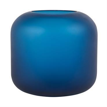 Vase en verre bleu mat H16