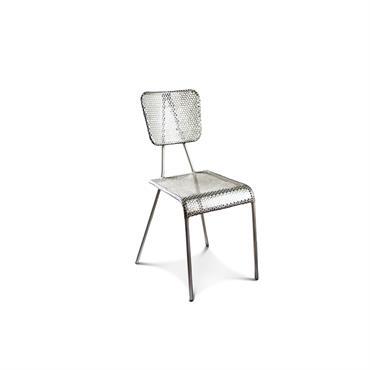 Chaise vintage en métal argenté