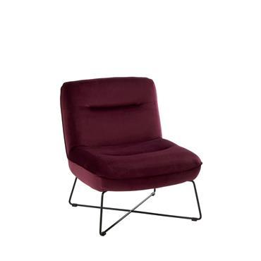 Petit fauteuil nordique en velours Bordeaux