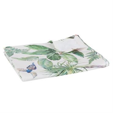 Nappe en coton blanc imprimé feuillage 150x250
