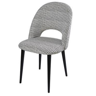 Chaise en velours motifs noirs et blancs et bouleau Iris
