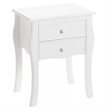 Table de chevet en bois blanc comprenant 2 tiroirs.Matière: Pin, MDFCouleur: BlancDimensions: Hauteur 61cm x largeur 35cm x Longueur 48cmDimensions Intérieur Tiroir: 30X29X8cm