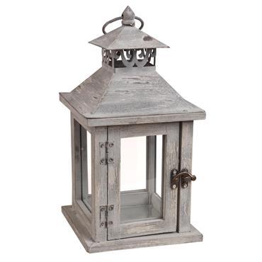 Lanterne en sapin blanchi et métal