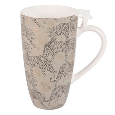 Mug palmier en porcelaine vert kaki et doré à imprimé