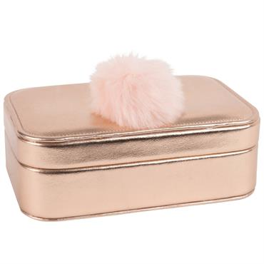 Boîte à bijoux dorée flamant rose à pompon