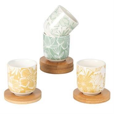 Coffret 4 tasses et soucoupes en bambou faïence imprimé floral