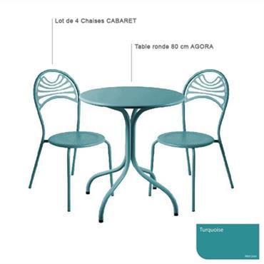 Ensemble table ronde Agora et 4 chaises Cabaret