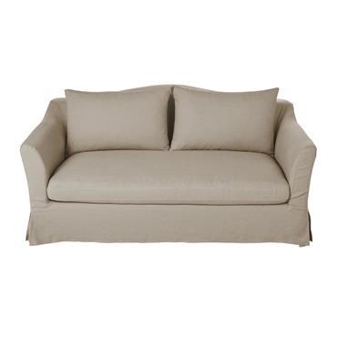 Canapé 2 places en lin beige ficelle Anaelle