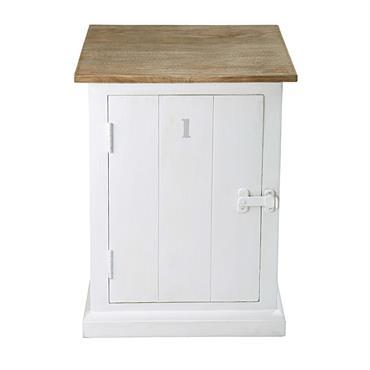 Table de chevet 1 porte en manguier massif grisé et blanc Figuerolles