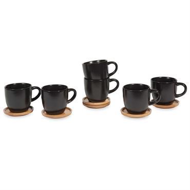 Coffret 6 tasses et soucoupes en faïence noire